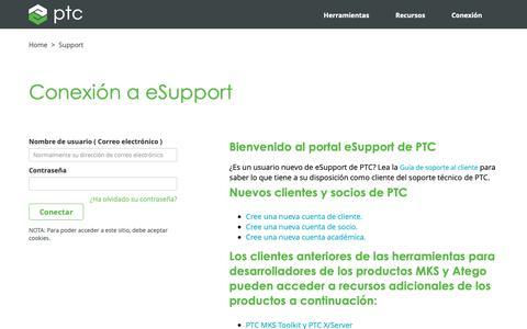 Screenshot of Support Page ptc.com - Conexión a eSupport  | PTC - captured Nov. 13, 2018