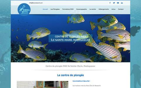 Screenshot of Home Page boraresearch.com - Centre de plongée PADI île Sainte-Marie, Madagascar - captured Nov. 21, 2016