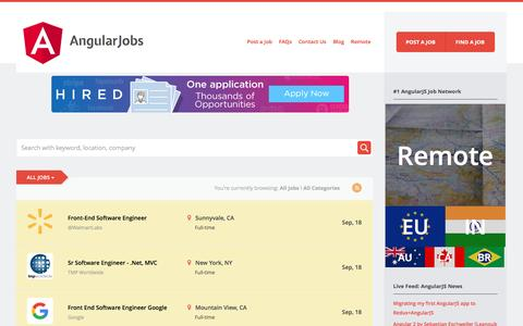 Screenshot of Home Page angularjobs.com - AngularJobs | #1 in AngularJS Jobs. Top Resumes. Hiring Angular2 Developers. - captured Oct. 1, 2016