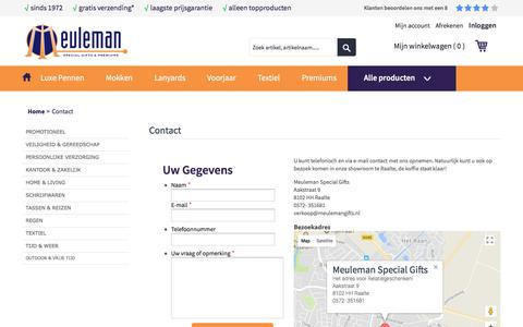 Screenshot of Contact Page meulemangifts.nl - Contact - captured Oct. 18, 2017
