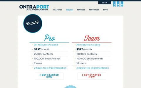 Screenshot of Pricing Page ontraport.com - ONTRAPORT | Pricing - captured July 20, 2014