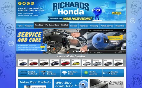Screenshot of Home Page richardshonda.com - Honda Dealer Baton Rouge | New and Used Cars | Richards Honda - captured Oct. 7, 2014