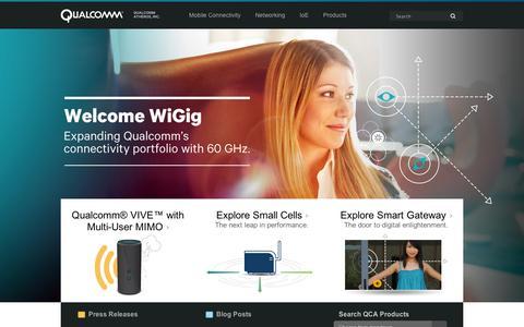 Screenshot of Home Page ubicom.com - Qualcomm Atheros Networking and Connectivity | Qualcomm Atheros, Inc. - captured Sept. 11, 2014