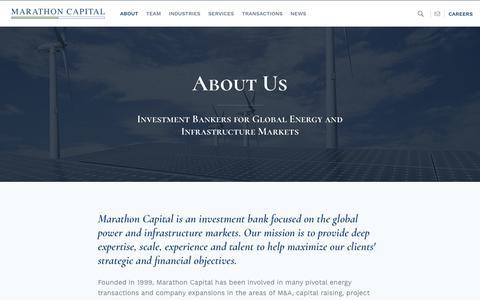 Screenshot of About Page marathon-cap.com - Marathon Capital - Best Energy Investment Bank & Investment Firm - captured Oct. 16, 2018