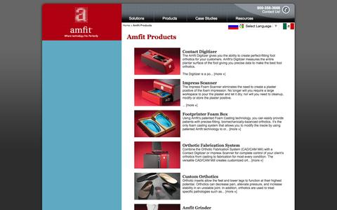 Screenshot of Products Page amfit.com - Amfit Products | Custom Foot Orthotic Products - captured Oct. 4, 2014
