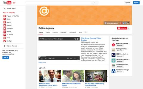 Screenshot of YouTube Page youtube.com - Dalton Agency  - YouTube - captured Oct. 23, 2014