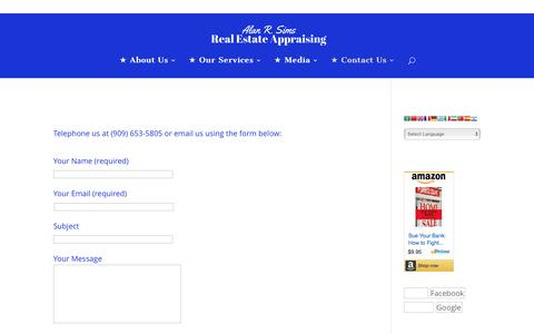 Screenshot of Contact Page alansims.com - Contact Us - Alan R. Sims Real Estate Appraising - captured April 29, 2016