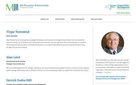 Screenshot of Testimonials Page m3placement.com - Testimonials Archive | M3 Placement & Partnership - captured Oct. 1, 2018