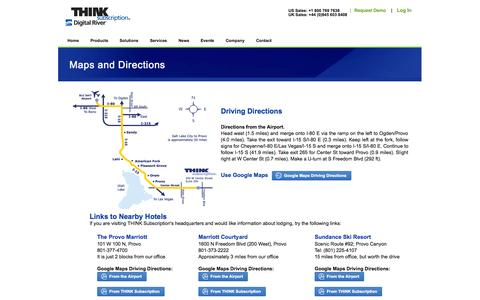 Screenshot of Maps & Directions Page thinksubscription.com - THINK Subscription -- Maps & Directions - captured Oct. 9, 2014