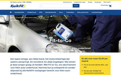 Screenshot of kwik-fit.nl - Fit-to-Go: Abonnement voor klein auto-onderhoud! | KwikFit - captured April 14, 2016
