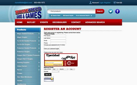 Screenshot of Signup Page crystalcommerce.com - Home Field Cards & Games - - captured Nov. 2, 2014