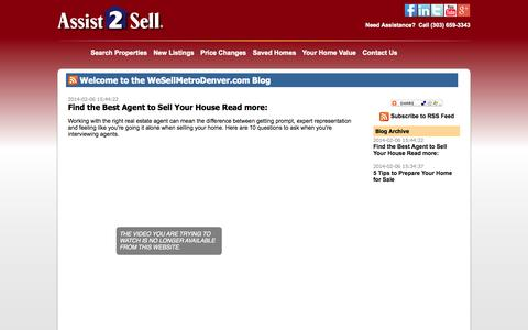 Screenshot of Blog wesellmetrodenver.com - Find the Best Agent to Sell Your House  Read more: - captured Oct. 1, 2014