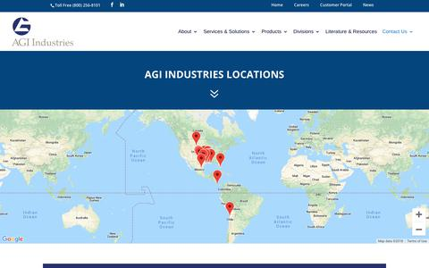 Screenshot of Locations Page agiindustries.com - Locations - AGI Industries - captured Dec. 17, 2018