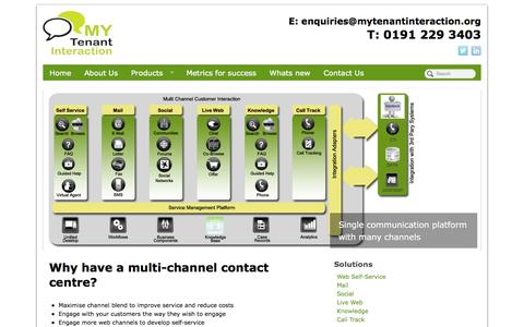 Screenshot of Products Page mytenantinteraction.org - Why have a multi-channel contact centre? - captured Sept. 30, 2014