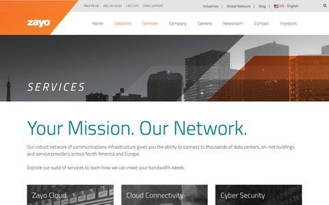 Screenshot of Services Page zayo.com - Services | Zayo Group - captured Oct. 8, 2017
