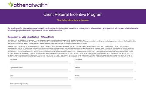 Screenshot of Landing Page athenahealth.com - athenaOne Client Online Lead Gen Agreement Form - captured Sept. 20, 2016