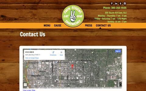 Screenshot of Contact Page evenstevens.com - Contact Us | Even Stevens Sandwiches Even Stevens Sandwiches - captured Sept. 23, 2014