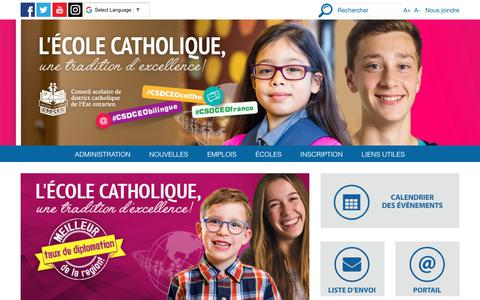 Screenshot of Home Page csdceo.ca - Conseil scolaire de district catholique de l'Est ontarien - CSDCEO - captured July 14, 2018