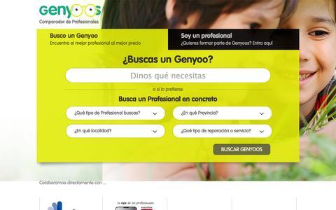 Screenshot of Home Page genyoos.com - Genyoos  | Buscador y comparador de profesionales - captured Sept. 29, 2014