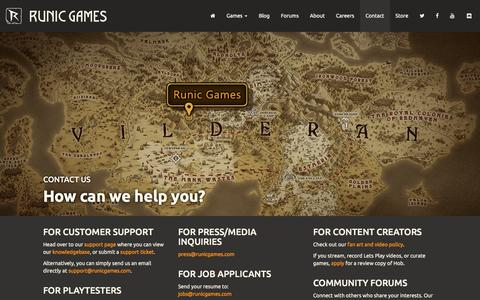 Screenshot of Contact Page runicgames.com - Runic Games | Contact - captured May 9, 2017