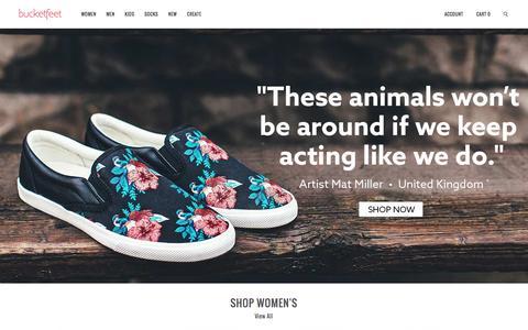 Screenshot of Home Page bucketfeet.com - BucketFeet   Artist Designed Footwear - captured Jan. 30, 2016