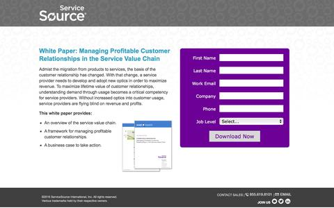 Screenshot of Landing Page servicesource.com - Managing Profitable Customer Relationships in the Service Value Chain - captured March 14, 2016