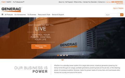Screenshot of Home Page generac.com - Generac Power Systems   The best backup generator for your home, business   Generac Power Systems - captured Sept. 25, 2014