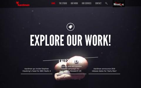 Screenshot of Home Page aardman.com - Aardman - captured Feb. 8, 2016