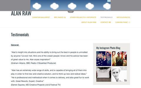 Screenshot of Testimonials Page wordpress.com - Testimonials – Alan Raw - captured Nov. 12, 2018
