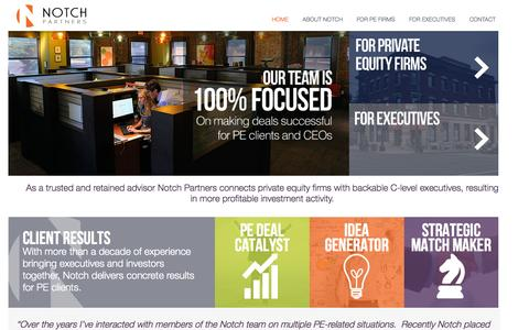 Screenshot of Home Page notchpartners.com - Notch | Connecting private equity firms with backable C-suite executives - captured Sept. 11, 2015