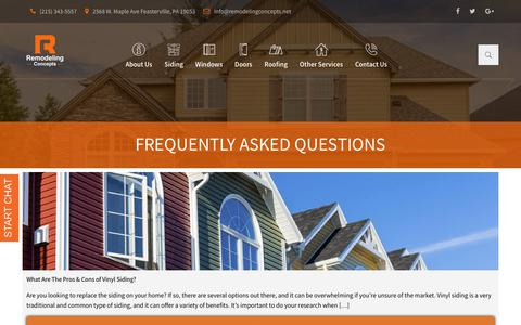 Screenshot of FAQ Page remodelingconcepts.net - Frequently Asked Questions | Remodeling Concepts - captured Oct. 18, 2018