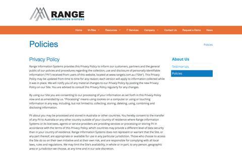 Screenshot of Privacy Page rangeis.com.au - Range Information Systems - Website Policies - Newcastle Hunter - captured Feb. 13, 2016
