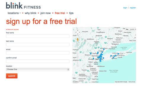 Screenshot of Trial Page blinkfitness.com - Blink Fitness Free Trial | Gym Trial Membership - captured Sept. 22, 2014