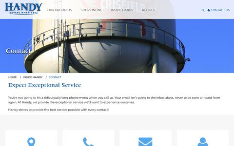 Screenshot of Contact Page handycrab.com - Contact | Handy Crab - captured Sept. 27, 2018
