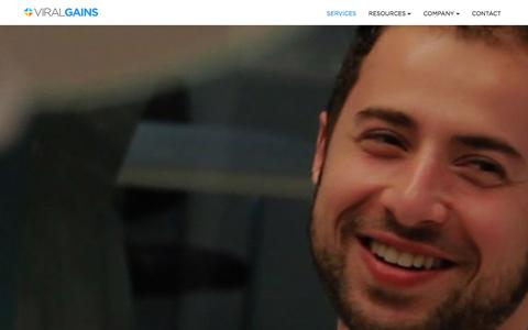 Screenshot of Services Page viralgains.com - Services - captured Dec. 11, 2015