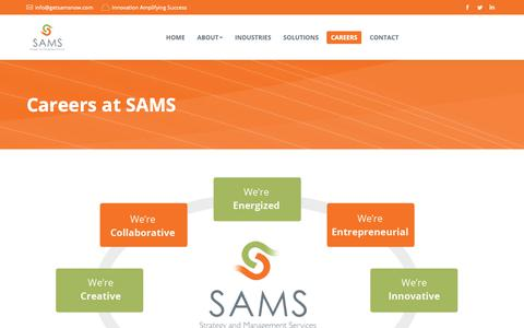 Screenshot of Jobs Page getsamsnow.com - Careers at SAMS | Strategy And Management Services, Inc. - captured April 1, 2019
