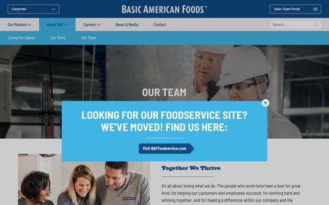Screenshot of Team Page baf.com - Our Team - Basic American Foods - Corporate - captured Oct. 5, 2018