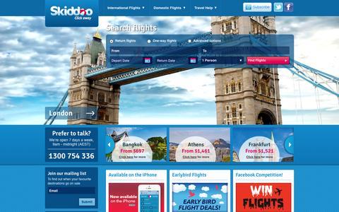 Screenshot of Home Page skiddoo.com.au - Cheap Flights   Find, Book & Save Online - Skiddoo - captured Sept. 24, 2014