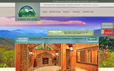 Screenshot of Home Page cabinfevervacations.com - Gatlinburg Cabins - Gatlinburg Cabin Rentals - Pigeon Forge Cabins - captured Sept. 25, 2014
