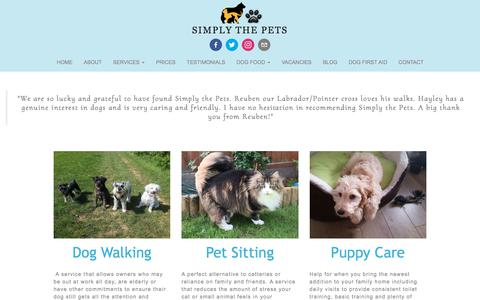 Screenshot of Services Page simplythepets.com - SERVICES - Simply the Pets Dog Walkers & Pet Sitters - captured July 27, 2018