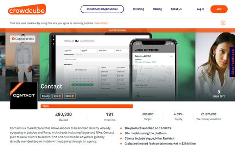 Screenshot of Contact Page crowdcube.com - Contact is raising £80,000 investment on Crowdcube. Capital At Risk. - captured Nov. 5, 2019