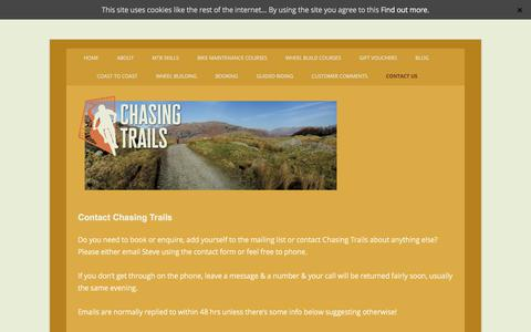 Screenshot of Contact Page chasingtrails.com - Contact Chasing Trails by email or phone - captured July 17, 2018