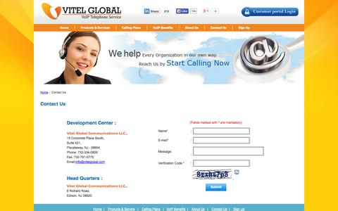 Screenshot of Contact Page vitelglobal.com - Contact Us for VoiP PBX Solutions India, US - VitelGlobal.com - captured Oct. 26, 2014