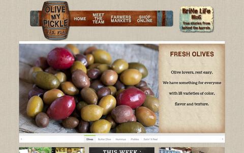 Screenshot of Home Page olivemypickle.com - Brine pickles, Gourmet Olives, Vegan Deli - captured Sept. 30, 2014