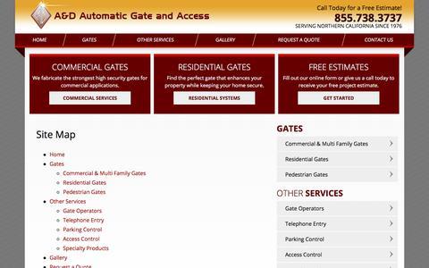 Screenshot of Site Map Page adautogate.com - Site Map   Sacramento Automatic Gate Installation - captured Sept. 17, 2017
