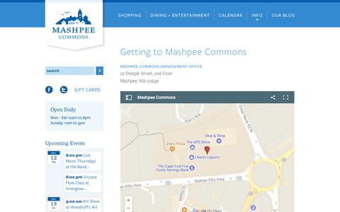 Screenshot of Maps & Directions Page mashpeecommons.com - Getting to Mashpee Commons   Mashpee Commons - captured July 13, 2018