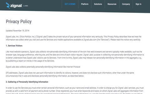 Privacy Policy - Zignal Labs