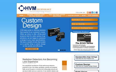Screenshot of Home Page hvmtech.com - High Voltage Power Supplies - HVM Technology, Inc. - captured Sept. 30, 2015