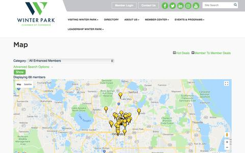 Screenshot of Maps & Directions Page winterpark.org - Map - Winter Park Chamber of Commerce, FL - captured Sept. 25, 2018