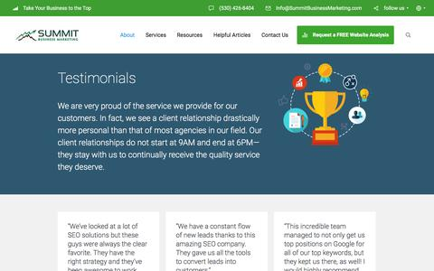 Screenshot of Testimonials Page summitbusinessmarketing.com - Section: Testimonials - Summit Business Marketing - captured Jan. 12, 2016